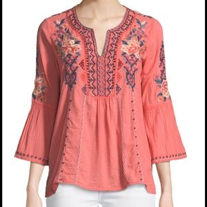 NWT Johnny Was Marion Flare Sleeve Emb Blouse S